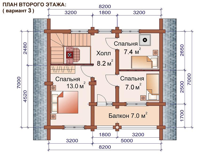 строительство двухэтажной бани из бревна проекты 7х11